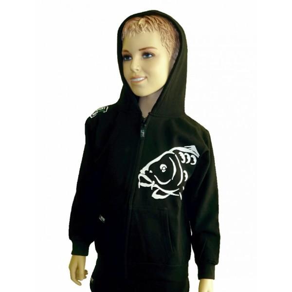 R-SPEKT Dětská mikina zipová s kapucí Carper Kids black